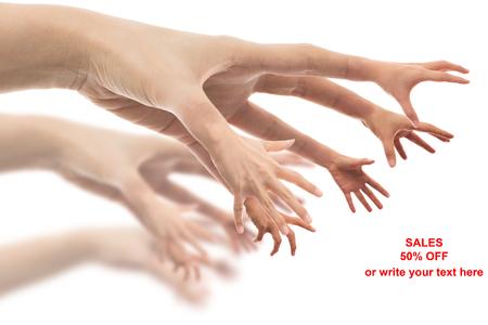 Many hands reaching big sales photo