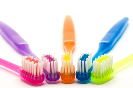 colorful toothbrush shooting in white background