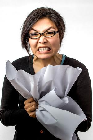 working woman: donna asiatica di lavoro su sfondo bianco Archivio Fotografico