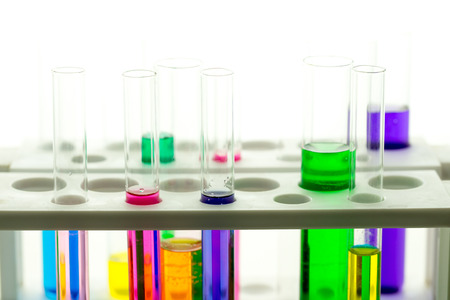 the laboratory test tubes with colorful liquid photo