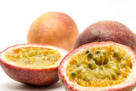 passion fruits shooting in white background photo