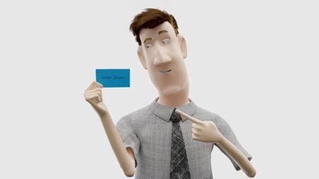 people holding blank card, board, 3d render