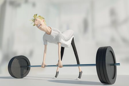 man lifting too heavy, work out pain, 3d rendering