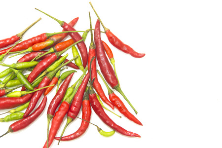 chilly: Thai red and green chilly on white background isolate