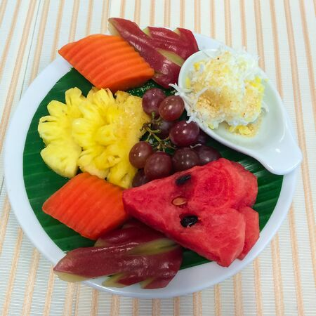thai dessert: Mixed fruits and Thai dessert.