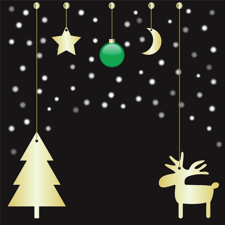 green christmas ball, christmas tree, reindeer, moon and star on black background with snow Stock Vector - 21718769