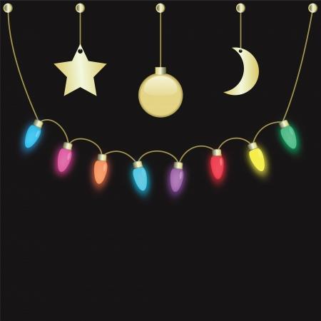 colorful party light bulbs hanging on dark background Ilustração