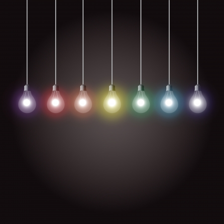 Colorful glowing light bulbs on dark background Illustration