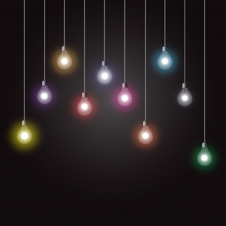 Colorful glowing light bulbs on dark background Vector
