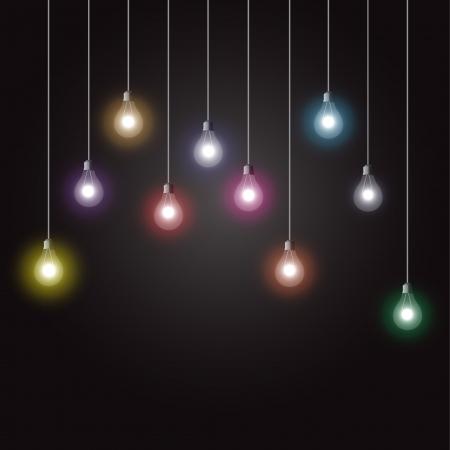 Colorful glowing light bulbs on dark background Ilustração