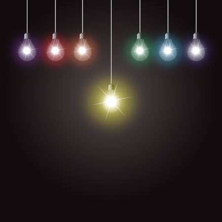 good idea: Colorful glowing light bulbs on dark background Illustration