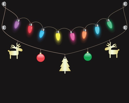 string of christmas lights: colorful party light bulbs hanging on dark background Illustration