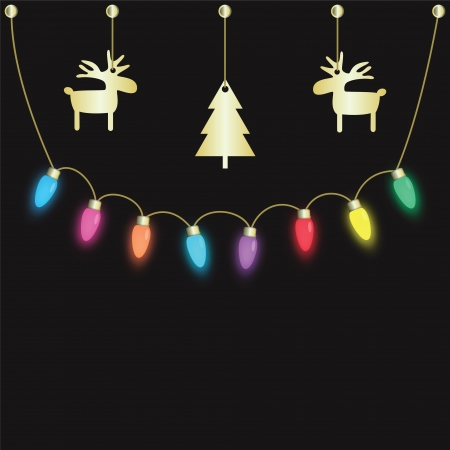 colorful party light bulbs hanging on dark background Illustration
