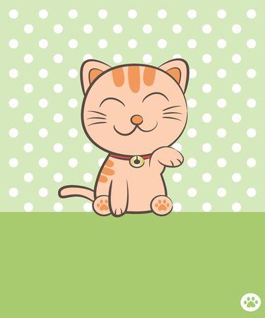 smiling cat sitting and raising one leg  Vector