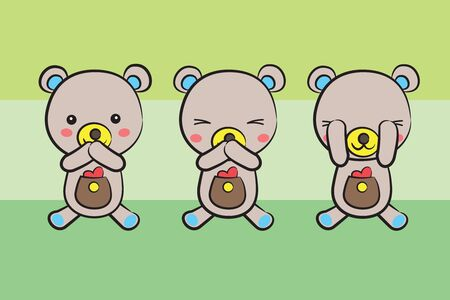 tree cute shy teddy bears with heart on green background Vector