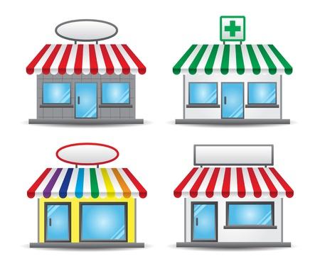 store window: kleine winkeltjes met banners storefront iconen