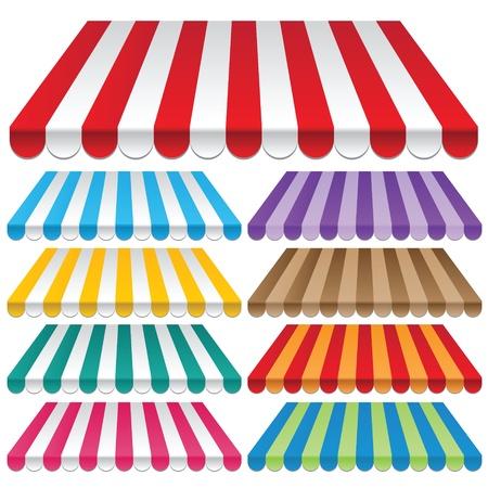 Negen gekleurde luifels frames en achtergronden vectoren