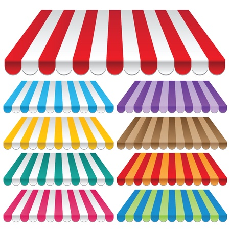 awnings: Nine colored awnings  frames and backgrounds vectors