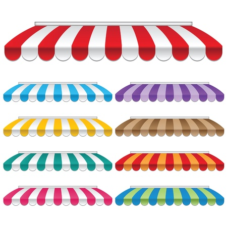 Nine colored awnings  frames and backgrounds vectors Banco de Imagens - 22550267