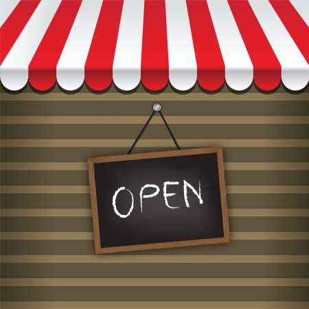 storefront with awning and hanging open sign vector Vector
