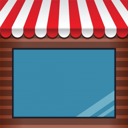 window display: storefront with awning and display window Illustration