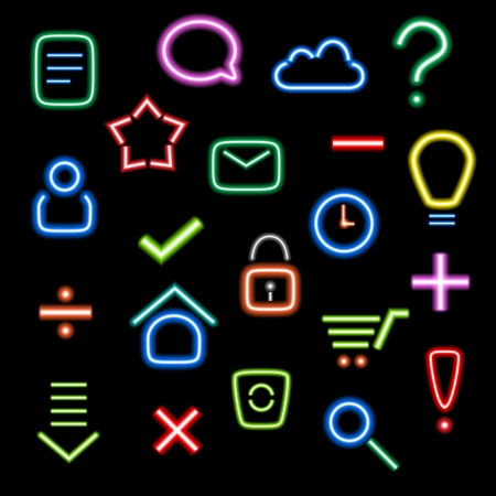 buy sell: colorful neon icons set on dark background Illustration