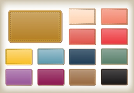 set of blank colorful leather tags and banners  Design templates