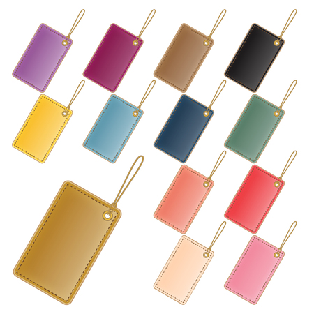 set of blank colorful leather label and tags  Vector