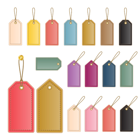 set of blank colorful leather price labels and tags  Vector