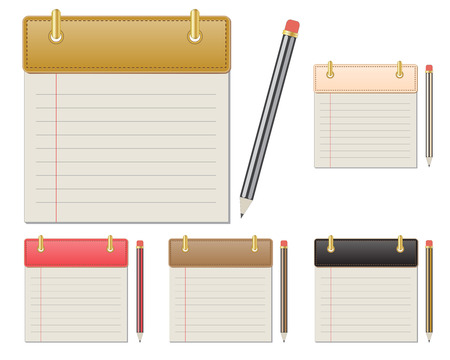 set of blank colorful leather notepads and pencils