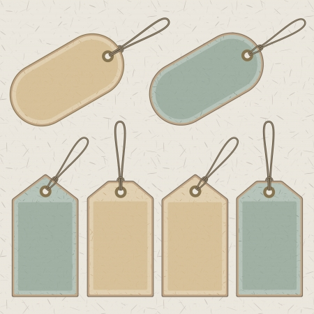 hang tag: set of brown and green recycled paper price tags and labels