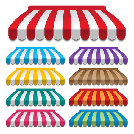 store window: set van kleurrijke luifels frames en achtergronden vectoren
