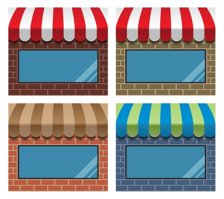 awnings: set of storefronts with awnings and display windows