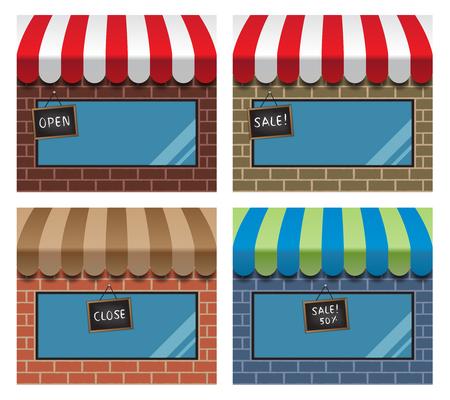 escaparates de tiendas: conjunto de tiendas con toldos y mostrar ventanas