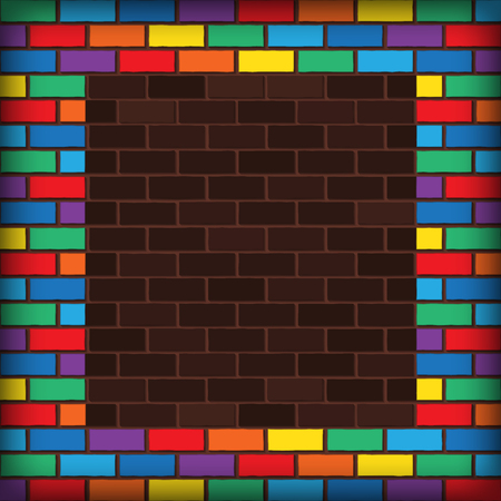 bricks laying and painted with rainbow colors Stock Vector - 23117970