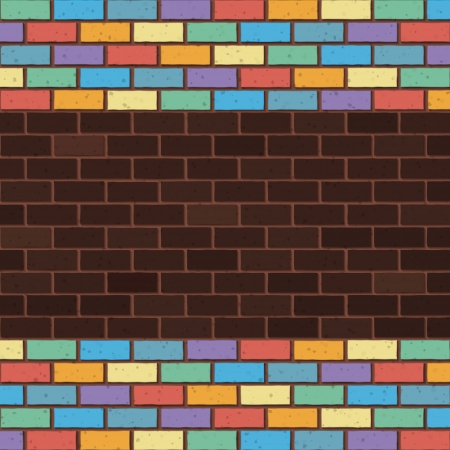 bricks laying and painted with rainbow colors Vector