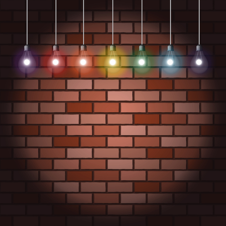 party rainbow light bulbs on brick wall background Vector