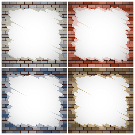 set of brick walls with color paintings Vector