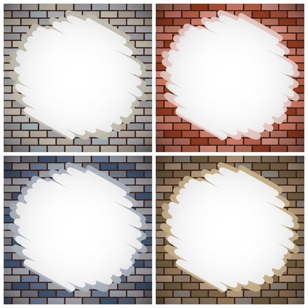 building bricks: set of brick walls with color paintings Illustration