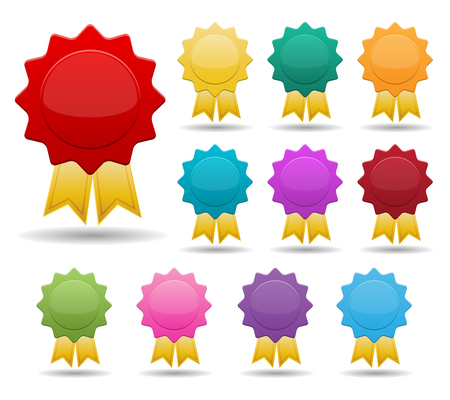 award ribbon rosette: set of blank colorful badges with gold stripe ribbons Illustration
