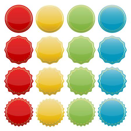 set of blank colorful starburst seals  stickers for website  Illustration