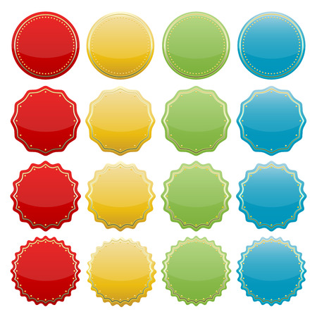 set of blank colorful starburst seals  stickers for website  Ilustração