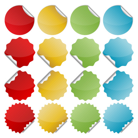 set of blank colorful bended seals  stickers for website  Vector