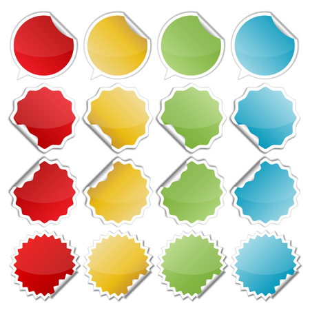 bended: set of blank colorful bended seals  stickers for website