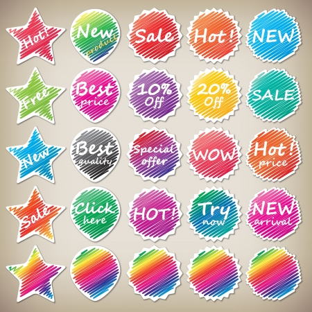 set of multi shaped and colored stickers  stickers for website  Vector