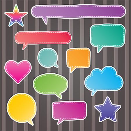 set of blank colorful stitch speech bubbles on stripes background