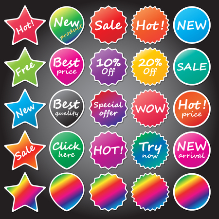 set of multi shaped and colored stickers  stickers for website
