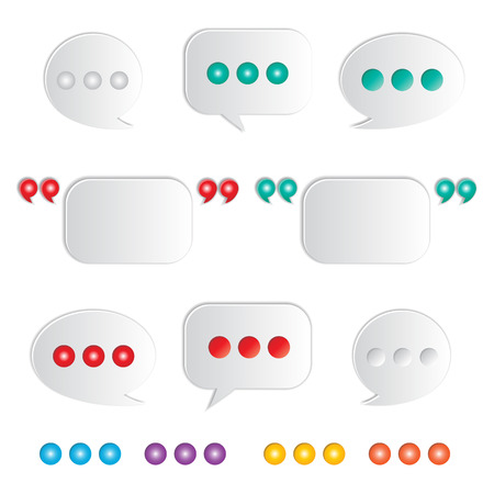 quotation marks: set of blank white speech bubbles with quatation marks Illustration