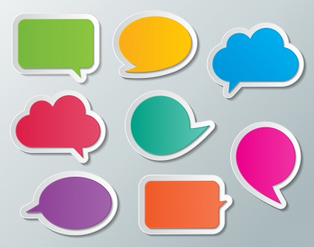 set of blank multi colored paper speech bubbles  infographic elements  Vector