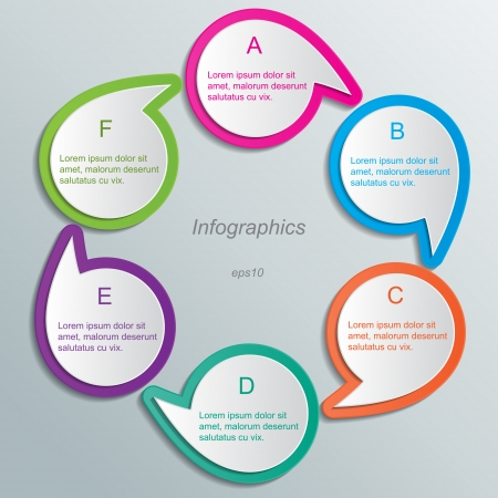 buble: set of blank multi colored paper speech bubbles  infographic elements